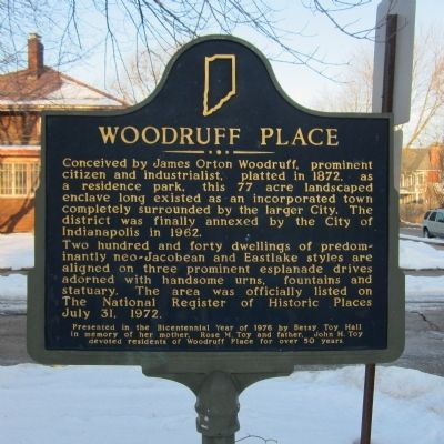 Woodruff Place Marker image. Click for full size.