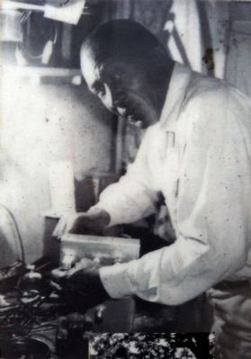 Edward L. Wright in his electronics workshop on 47th Place image. Click for full size.