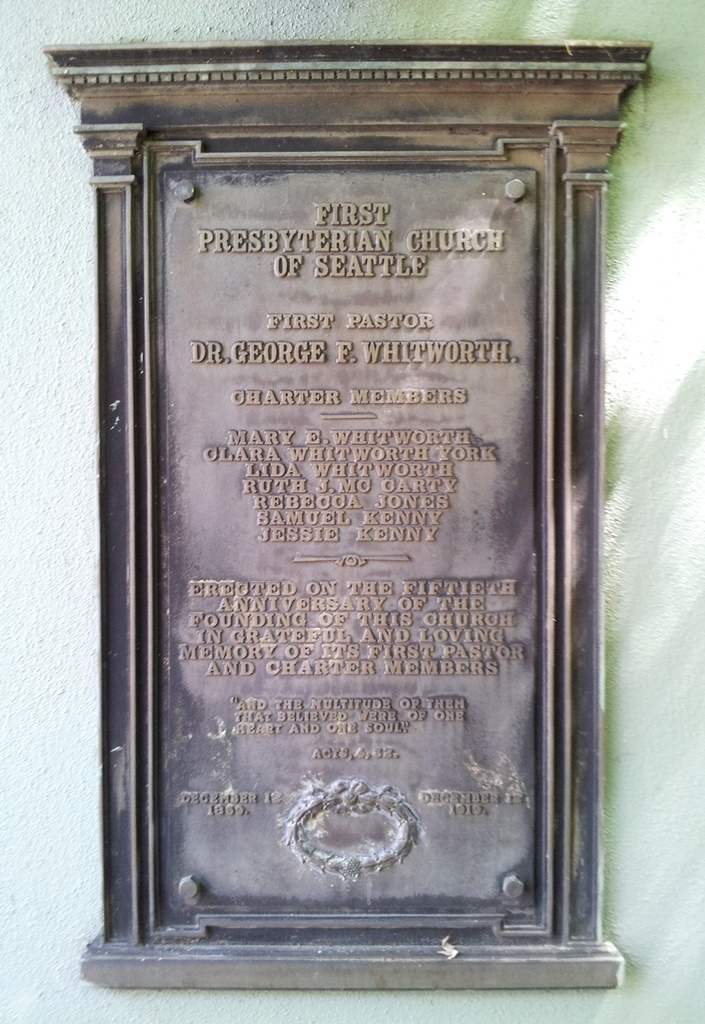 50th Anniversary of First Presbyterian Church of Seattle Marker