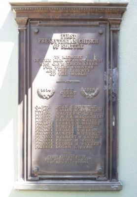 First Presbyterian Church of Seattle World War Memorial Marker image. Click for full size.