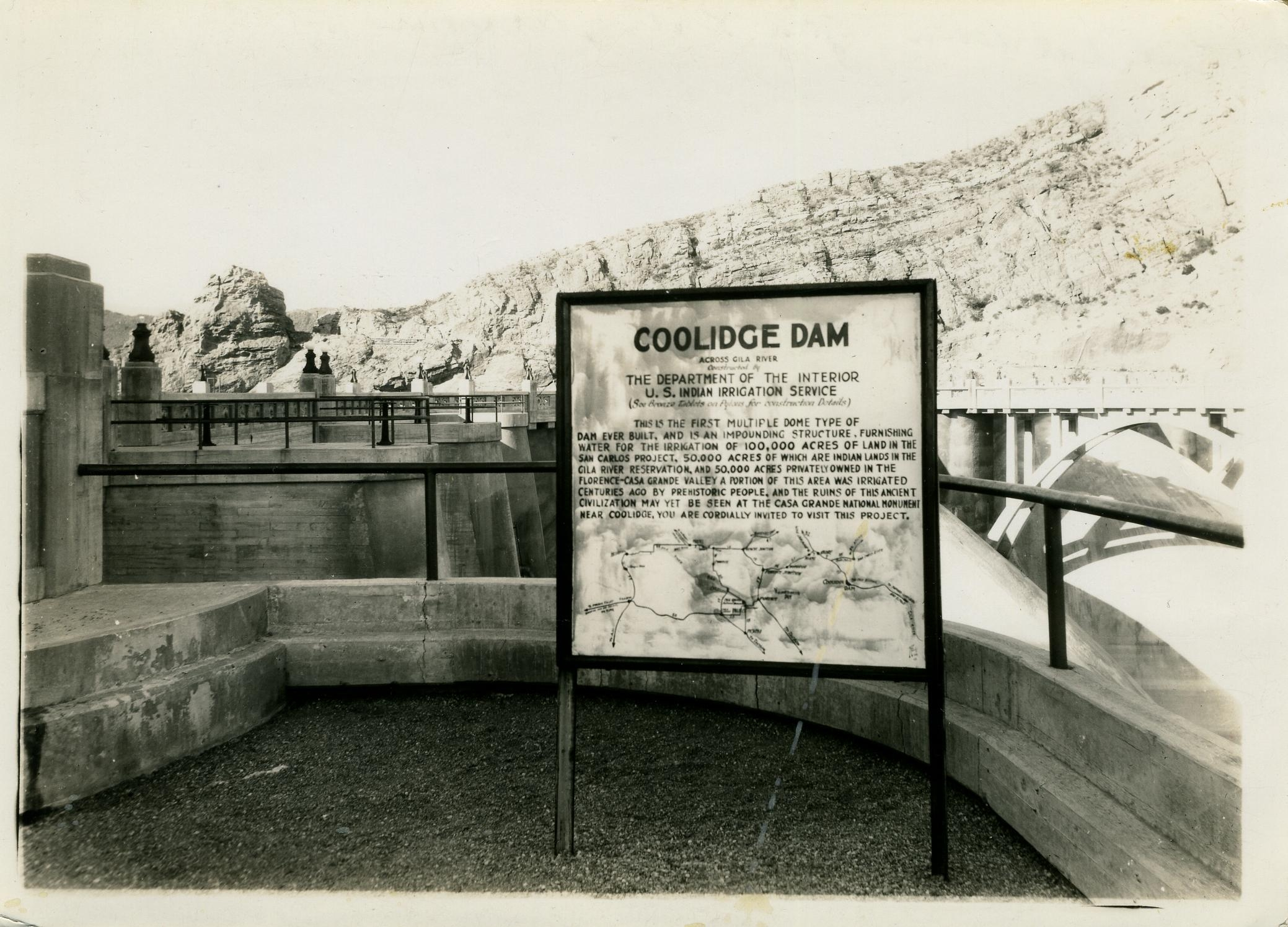 Original Coolidge Dam Interpretive Sign
