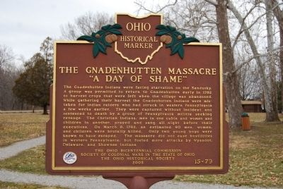 "The Gnadenhutten Massacre, ""A Day of Shame"" Marker image. Click for full size."
