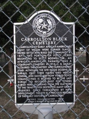 Carrollton Black Cemetery Texas Historical Marker image. Click for full size.