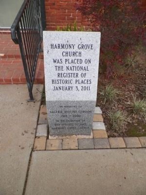 Harmony Grove Church NRHP Marker image. Click for full size.