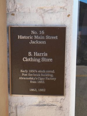 S. Harris Clothing Store Marker image. Click for full size.