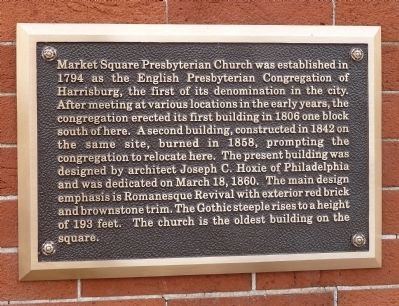 Market Square Presbyterian Church Bronze Plaque image. Click for full size.