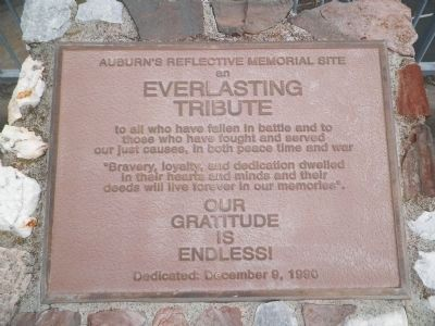 Auburn&#39;s Reflective Memorial Site<br>an<br>EVERLASTING TRIBUTE image. Click for full size.
