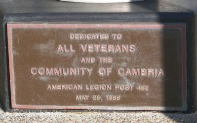 Cambria Veterans' Memorial Marker image. Click for full size.