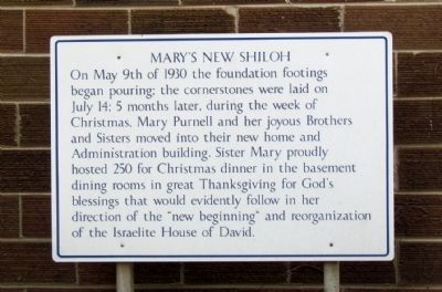 Informational Sign on Mary's New Shiloh image. Click for full size.