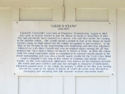 Informational Sign on Lizzie's Stand image. Click for full size.