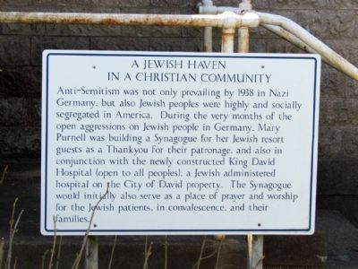 Informational Sign on<br>A Jewish Haven in a Christian Community image. Click for full size.
