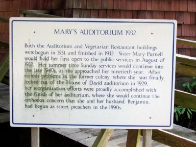 Informational Sign on Mary's Auditorium image. Click for full size.