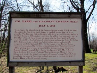 Informational Sign on Col. Harry and Elizabeth Eastman Field image. Click for full size.