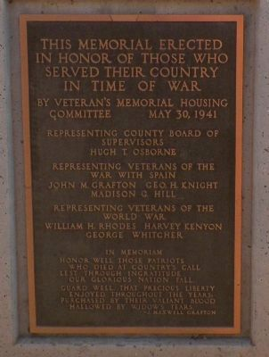 Imperial Valley Veterans' Memorial Marker image. Click for full size.
