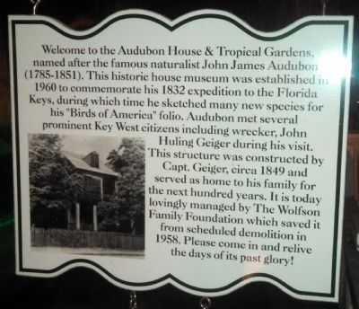 Audubon House & Tropical Garden Sign image. Click for full size.