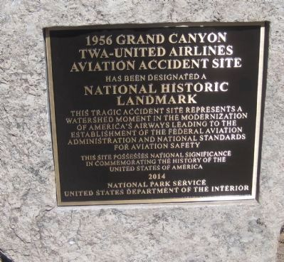 1956 Grand Canyon TWA-United Airlines Aviation Accident Site Marker image. Click for full size.