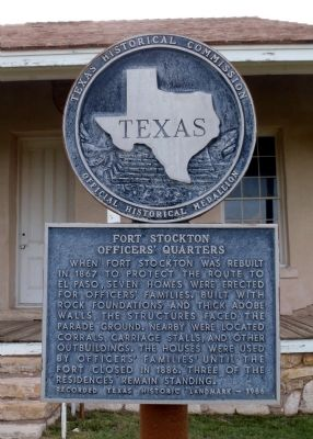 Fort Stockton Officers' Quarters Marker image. Click for full size.