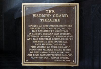 The Warner Grand Theatre Marker image. Click for full size.