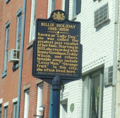 Billie Holiday Marker image. Click for full size.