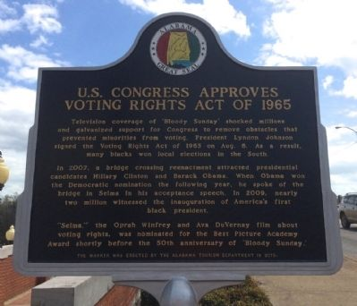 U.S. Congress Approves Voting Rights Act of 1965 Marker (Side 2) image. Click for full size.
