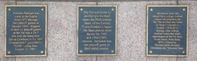 Veterans Stadium Sculptures Markers at Tackle (1974) image. Click for full size.