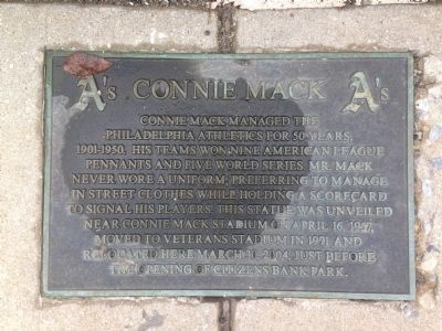 Connie Mack Marker image. Click for full size.