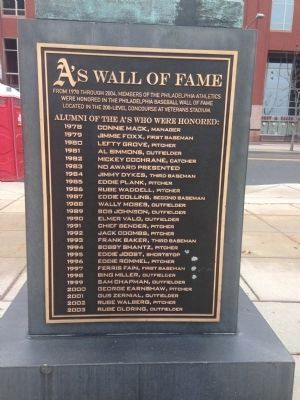 A's Wall of Fame Marker (reverse of Connie Mack statue) image. Click for full size.