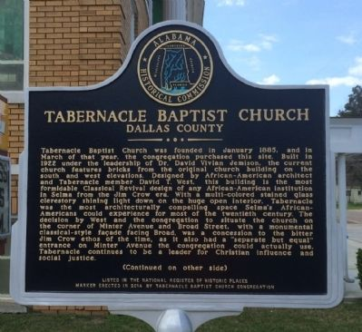Tabernacle Baptist Church Marker (Side 1) image. Click for full size.