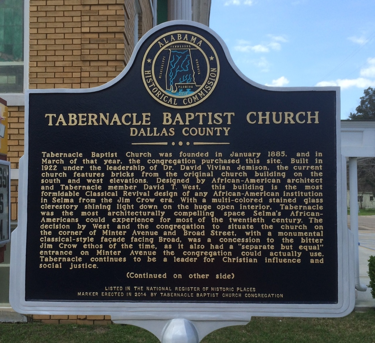 Tabernacle Baptist Church Marker (Side 1)