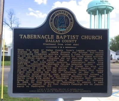 Tabernacle Baptist Church Marker (Side 2) image. Click for full size.