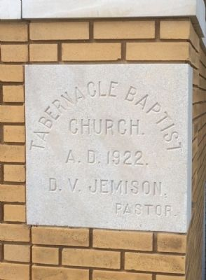 Tabernacle Baptist Church cornerstone. image. Click for full size.