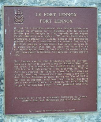 Fort Lennox Marker image. Click for full size.