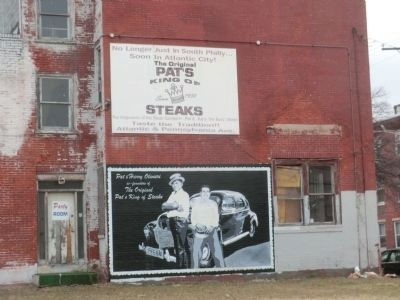 """Pat's King of Steaks"" billboard across the street image. Click for full size."