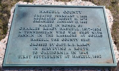 Bronze Inscription Tablet on Haskell County Marker image. Click for full size.
