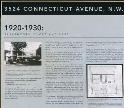 3524 Connecticut Avenue, N.W. Marker (1920-1930) image. Click for full size.