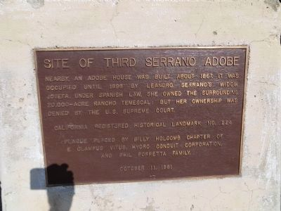 Site of Third Serrano Adobe Marker image. Click for full size.