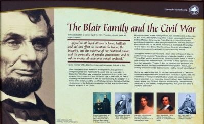 The Blair Family and the Civil War Marker image. Click for full size.