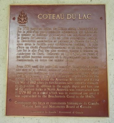 Coteau-du-lac Marker image. Click for full size.