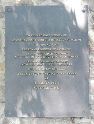 Battlefield of Chrysler's Farm memorial plaque image. Click for full size.