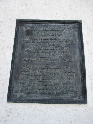 The First Religious Society of Lewiston Marker image. Click for full size.