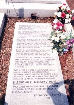 William Smith Bill Monroe Grave Marker image. Click for full size.