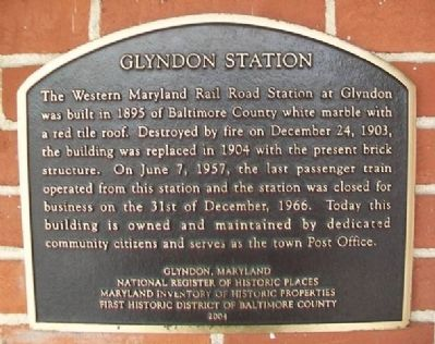 Glyndon Station Marker image. Click for full size.