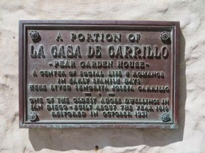Plaque on Casa de Carrillo Garden House image. Click for full size.