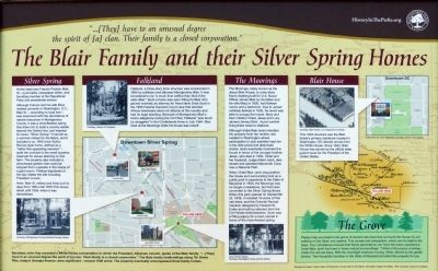 The Blair Family and their Silver Spring Homes. Marker image. Click for full size.