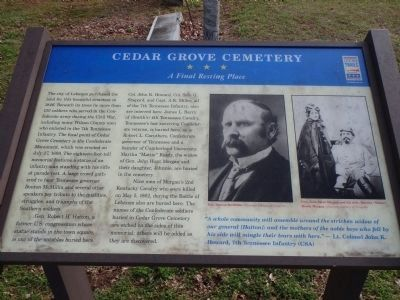 Cedar Grove Cemetery (Civil War Trail Marker) image. Click for full size.