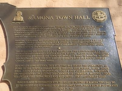 Ramona Town Hall Marker image. Click for full size.