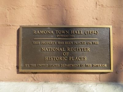 NRHP Ramona Town Hall Plaque image. Click for full size.