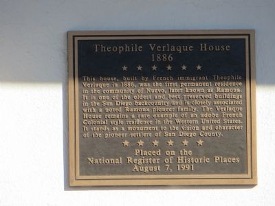 Theophile Verlaque House Marker image. Click for full size.