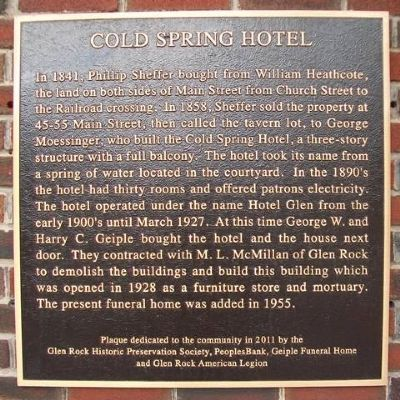 Cold Spring Hotel Marker image. Click for full size.