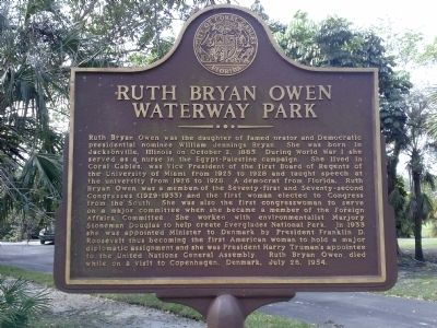 Ruth Bryan Owen Waterway Park Marker image. Click for full size.
